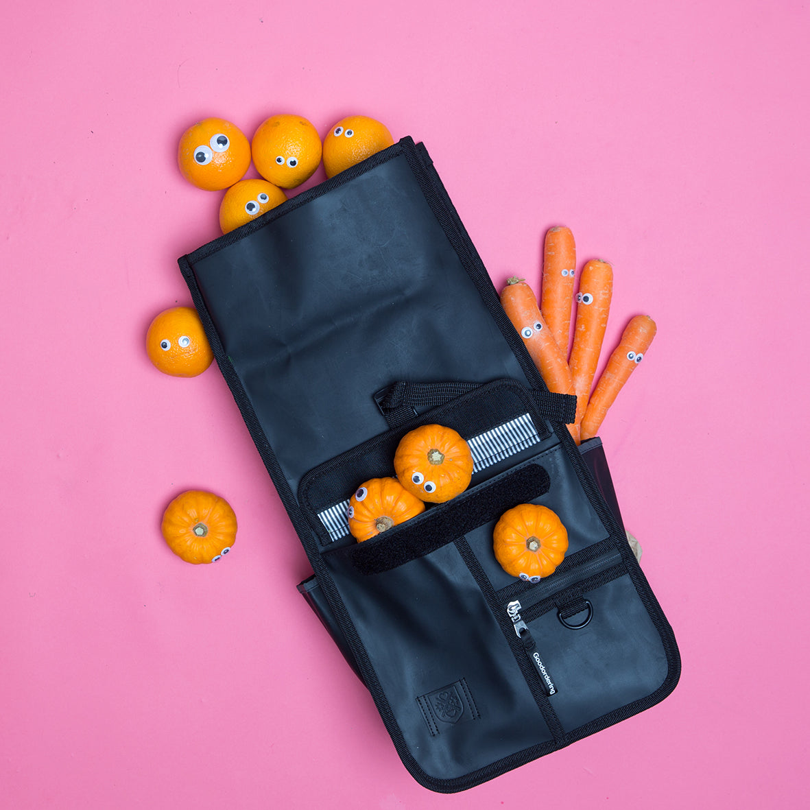 Goodordering fruit and vegetable photoshoot featuring roll top backpack