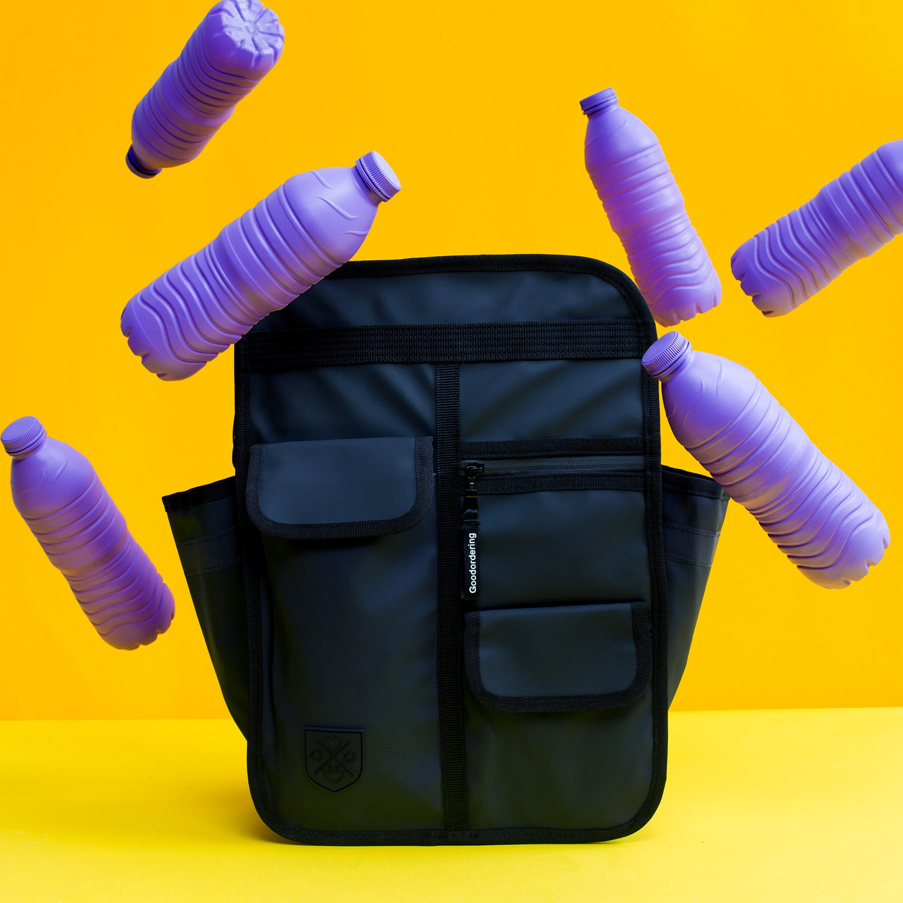 Goodordering monochrome backpack made from recycled water bottles