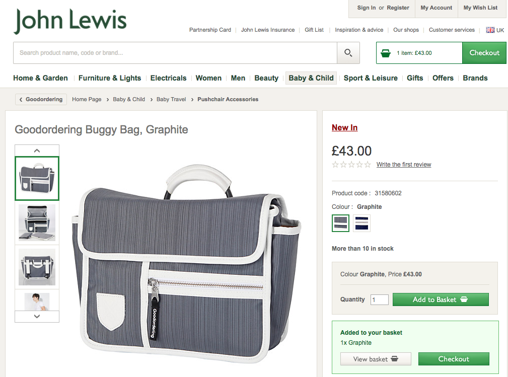 Goodordering on the John Lewis ecommerce website