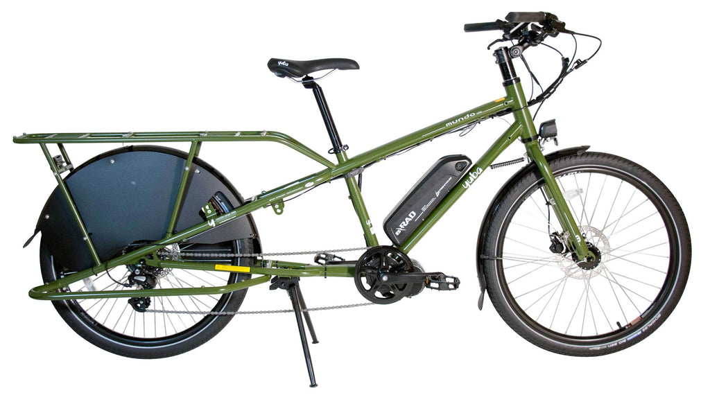 yuba cargo bicycle green  Yuba elMundo LUX E-Cargo Bike