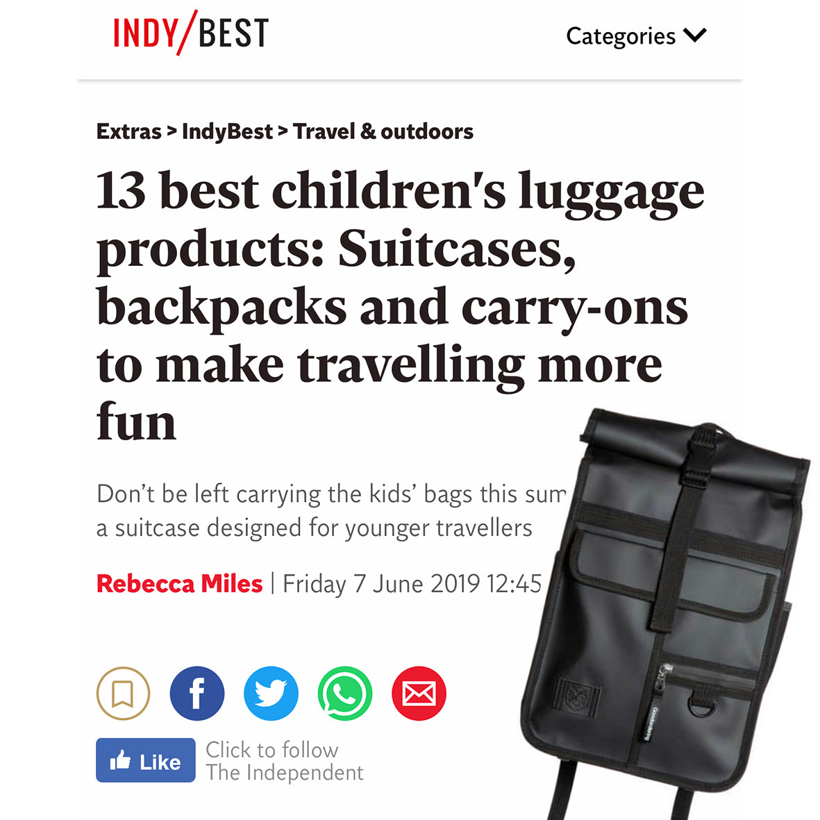 independent newspaper best kids travel bags and backpacks