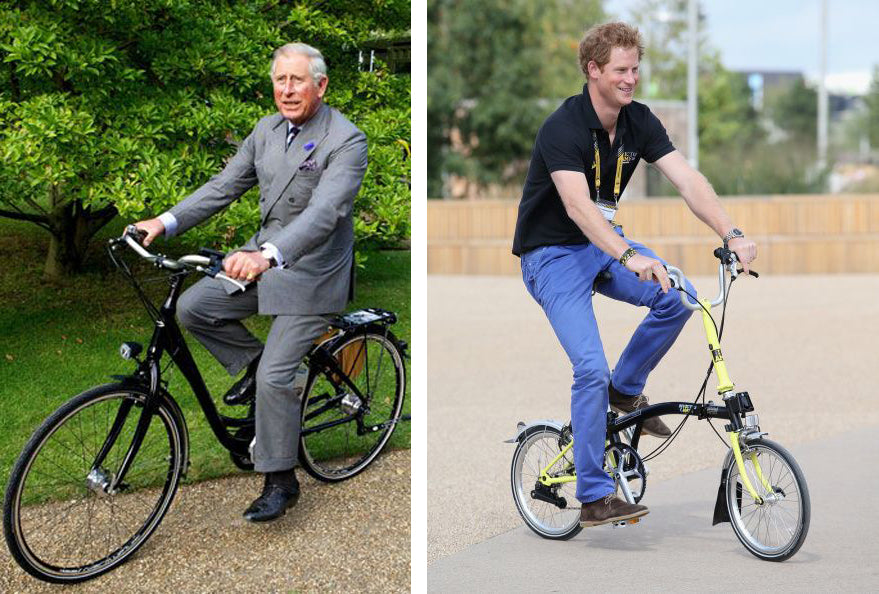 Prince Harry on his brompton and prince charles