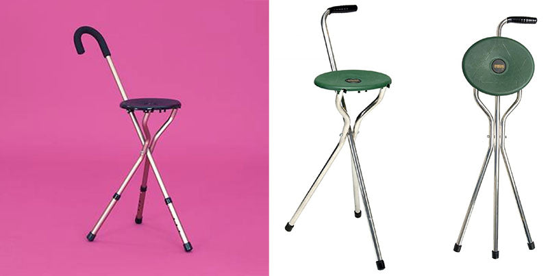 Walking stick chair stool multifunctional
