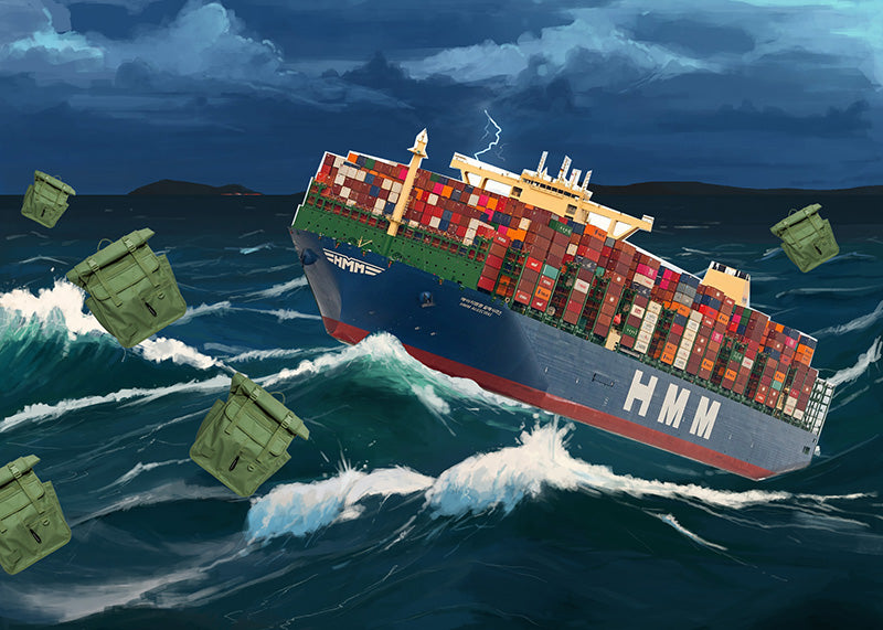 Containership in storm