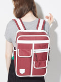 Goodordering boxy backpack school bag maroon