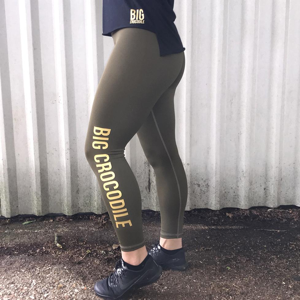 Big Crocodile - Large Logo Sports Leggings - Khaki