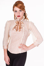 Load image into Gallery viewer, Victorian steampunk cream lace blouse with corset effect