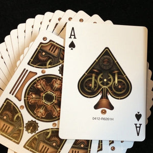 Steampunk gold poker deck