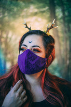 Load image into Gallery viewer, Steampunk Green, Red or Purple Brocade Face Mask, Reusable Non-woven Fabric, Double Layer and Filter Pocket