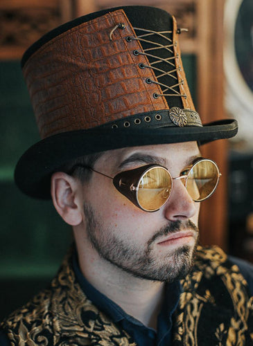 Brown Steampunk Round Glasses