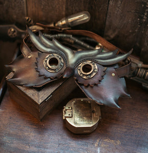 Steampunk Owl Leather Mask