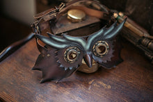 Load image into Gallery viewer, Steampunk Owl Leather Mask