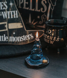 Candle in the shape of a witch hat for Halloween