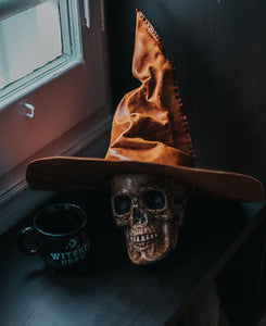 Witch or wizard leather hat dark academia