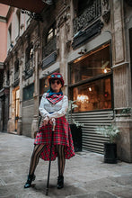 Load image into Gallery viewer, PRE-ORDER Red tartan steampunk skirt