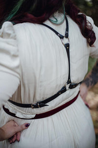 Burgundy velvet and leather harness steampunk style