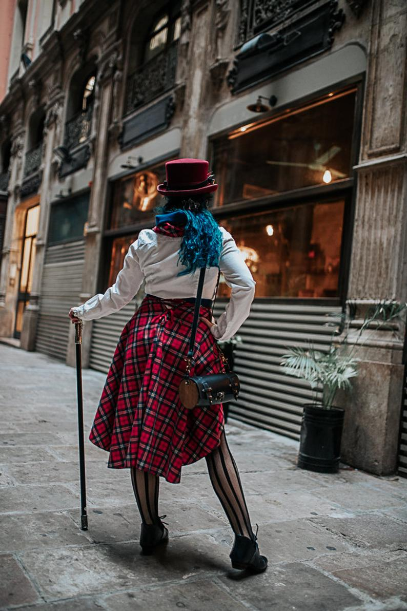 PRE-ORDER Red tartan steampunk skirt