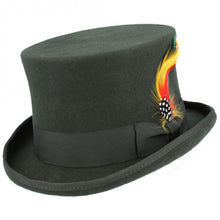 Load image into Gallery viewer, Vintage Victorian Steampunk Dark Green Top Hat