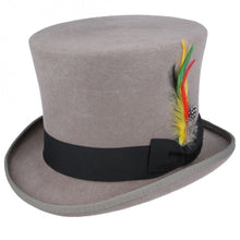 Load image into Gallery viewer, Vintage Victorian steampunk gray top hat