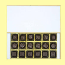 Load image into Gallery viewer, Customised chocolates with delicate golden design printed on wooden box