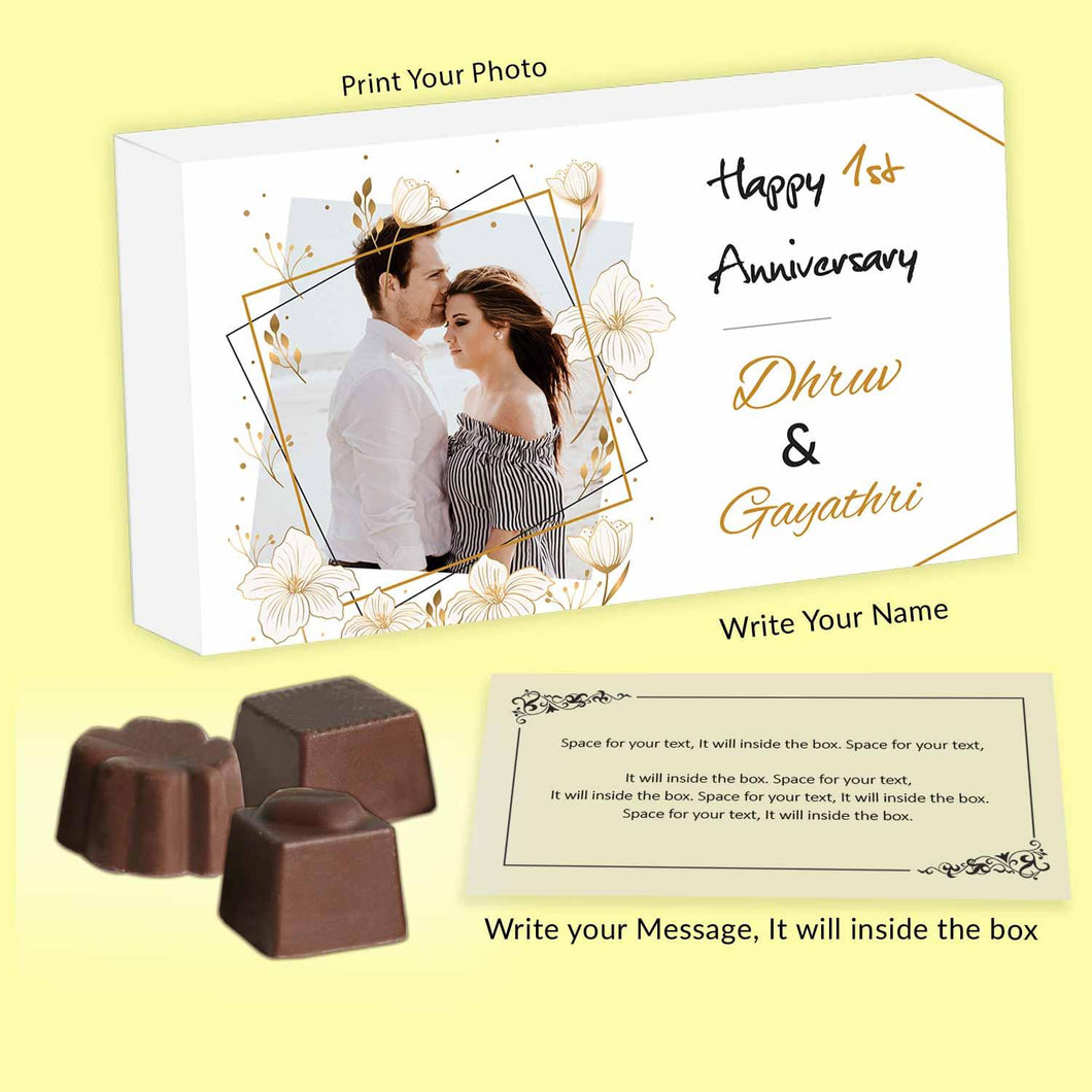 Customised chocolates with delicate golden design printed on wooden box