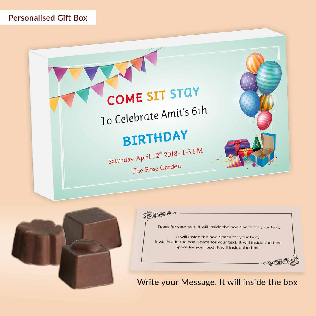Colourful balloons gifts & garland customised chocolates invitation