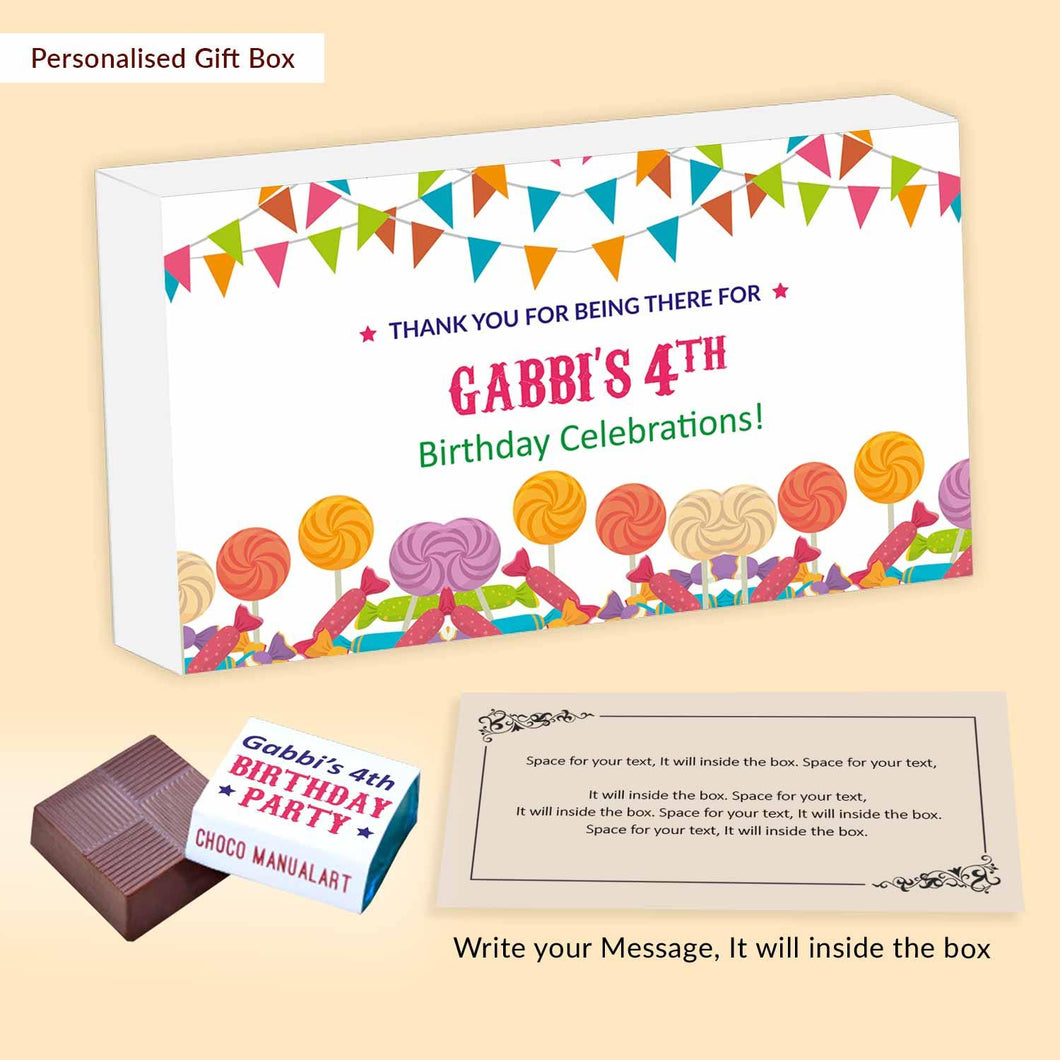 Colourful toffees & candies personalised birthday return gift