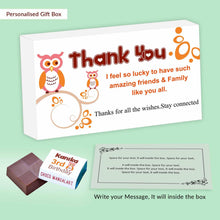 Load image into Gallery viewer, Cute owls personalised wrapped chocolates birthday return gift