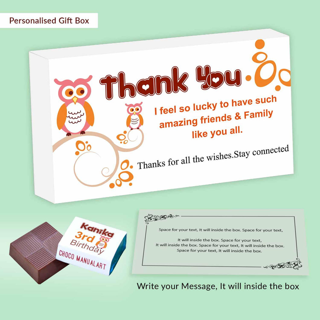 Cute owls personalised wrapped chocolates birthday return gift