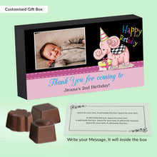 Load image into Gallery viewer, Customised baby elephant printed birthday return gift