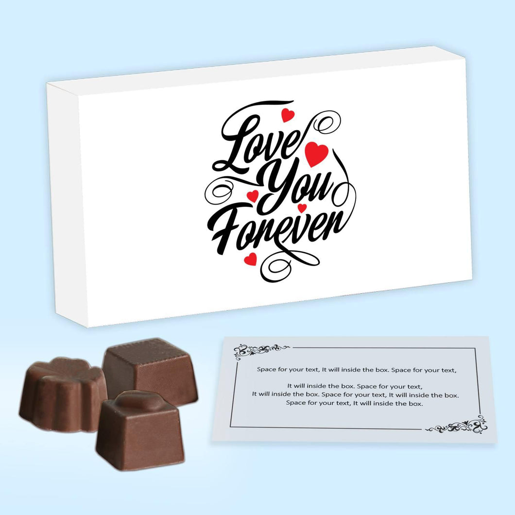 Print love you forever on personalised chocolate boxes
