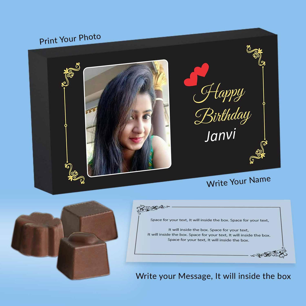Personalized Chocolates gift with Photo printed box for Birthday - ChocoManualART.com