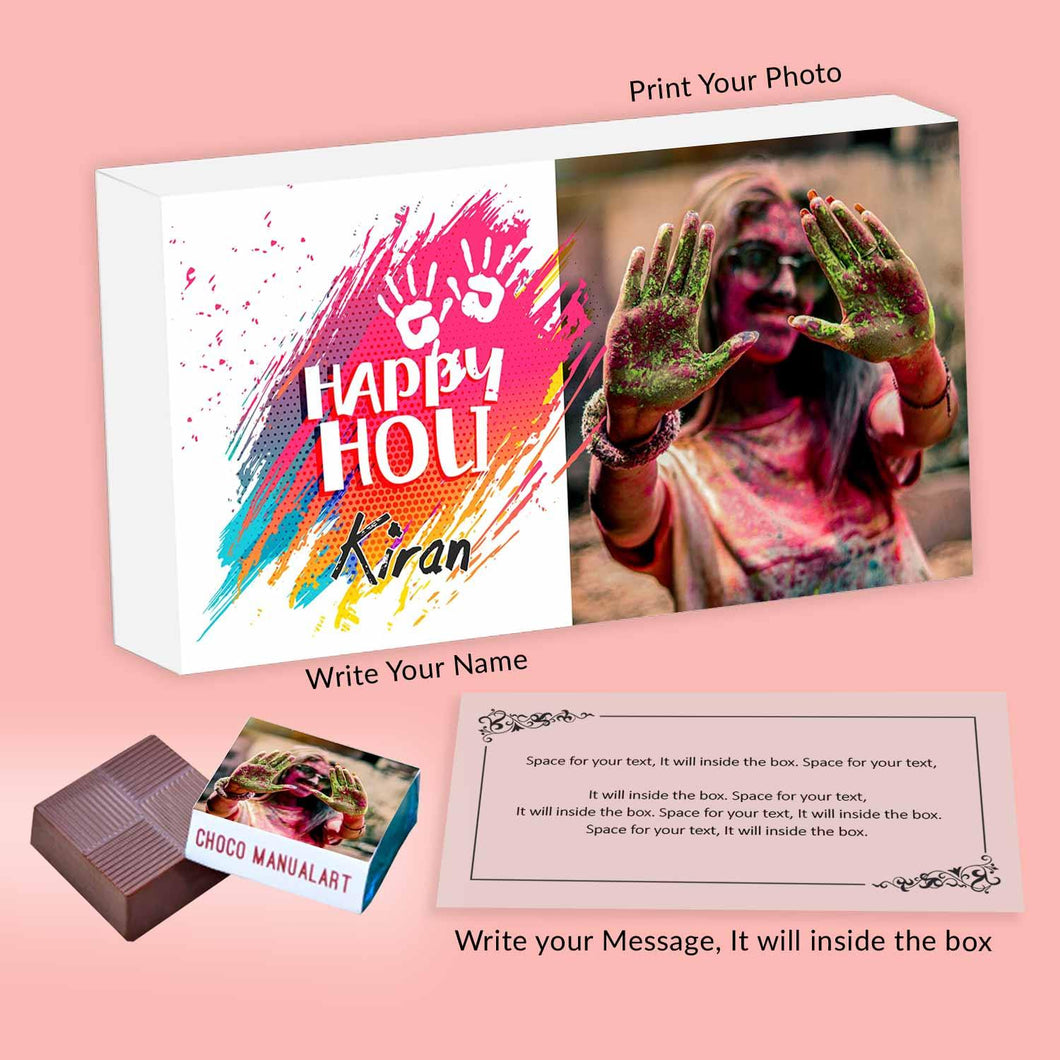 Colourful modern holi gift personalised wrapped chocolates