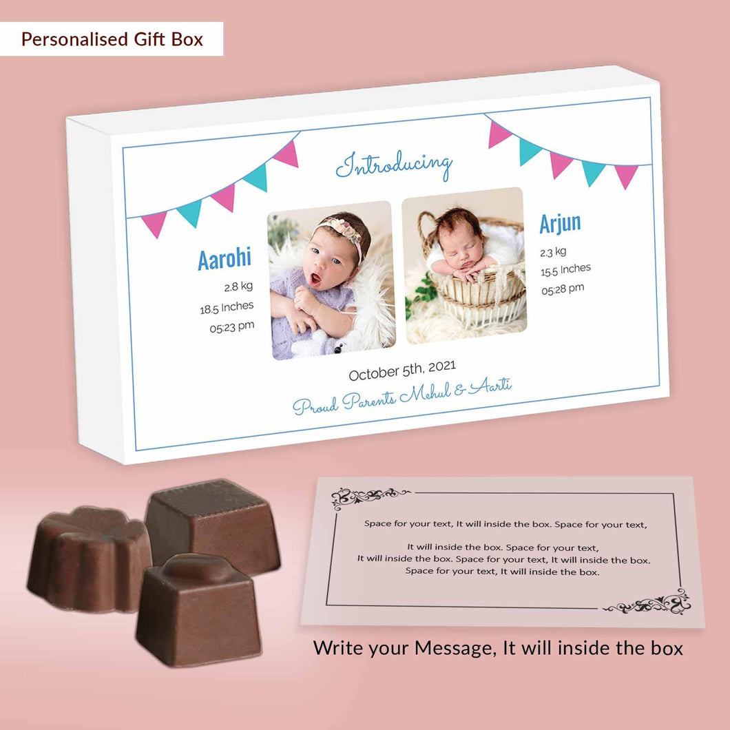 Pink & Blue decorative box of chocolates to announce twin's birth