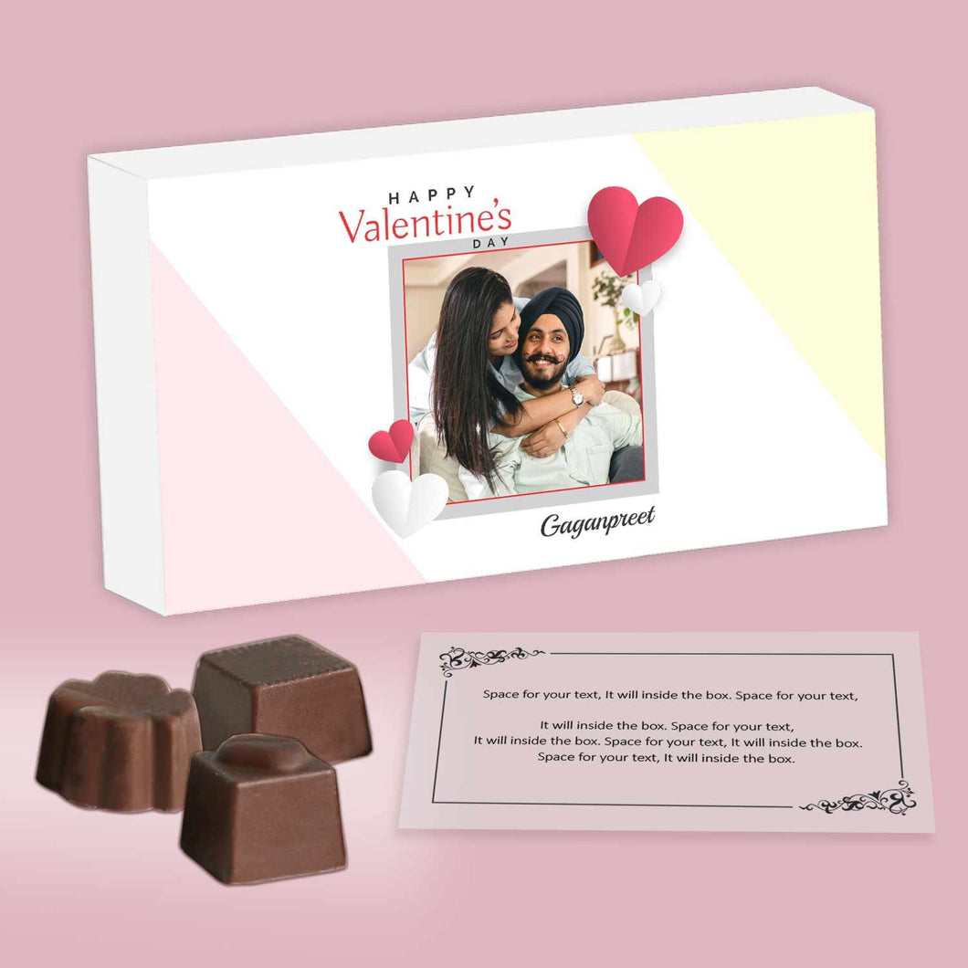 customized chocolates with different shapes and romantic message