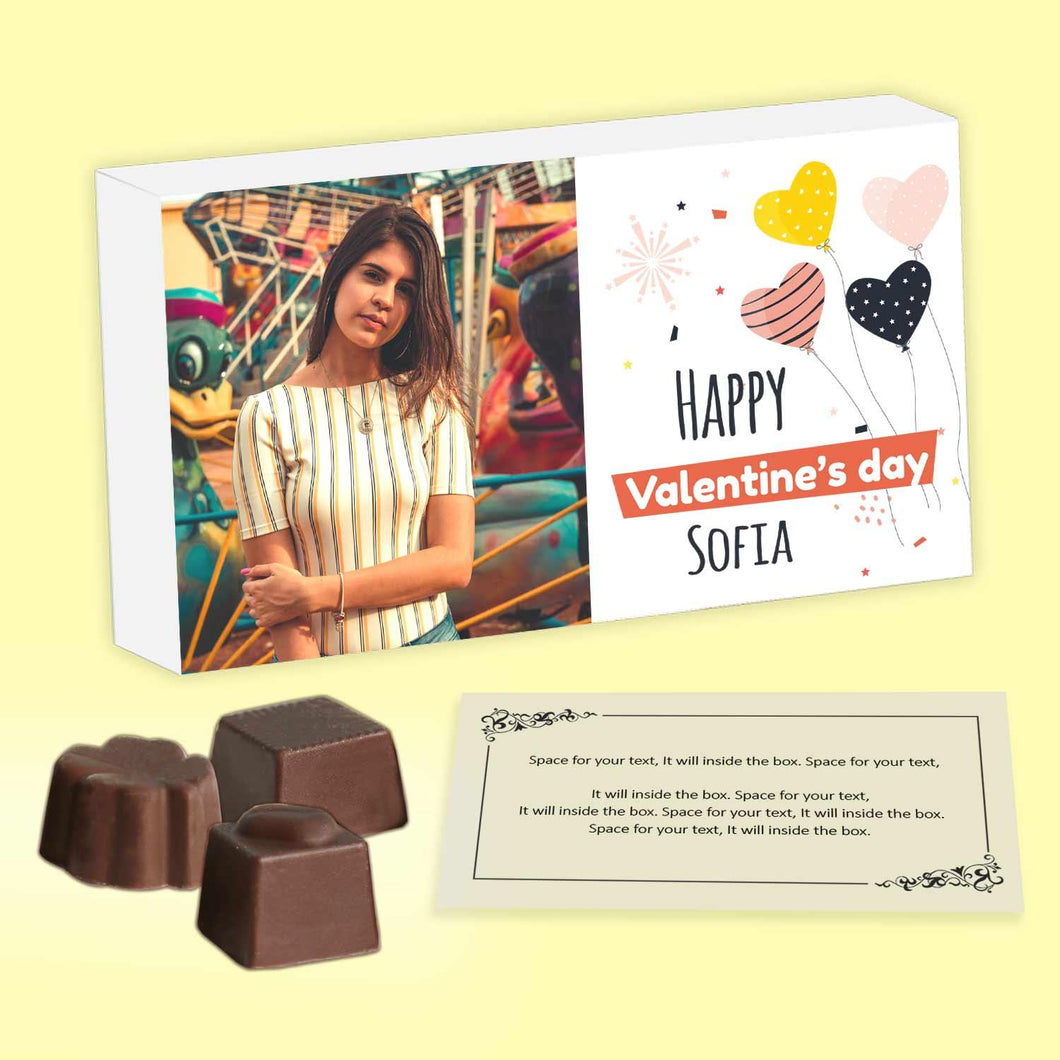 personalized chocolates of different shapes with printed box