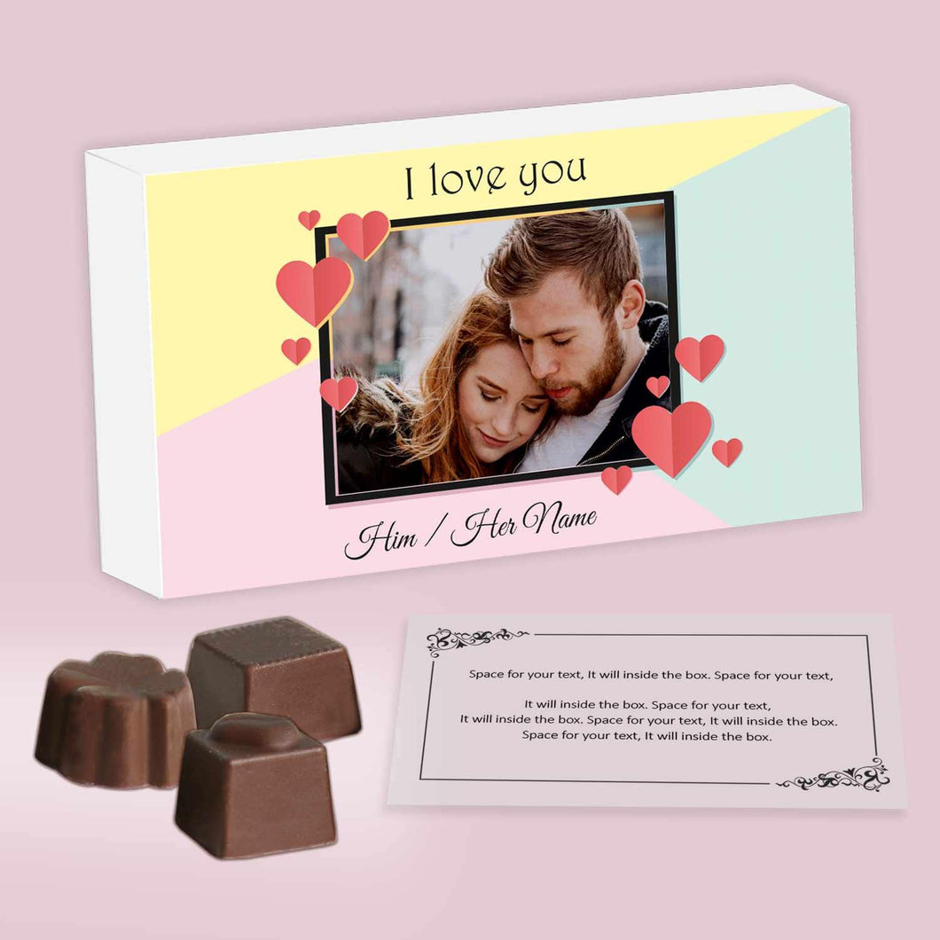 customized chocolates with photo printed box