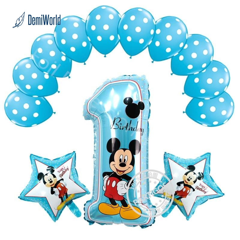 Mickey Minnie Mouse Foil Balloons Number 1 Baby Shower Birthday Party Decoration