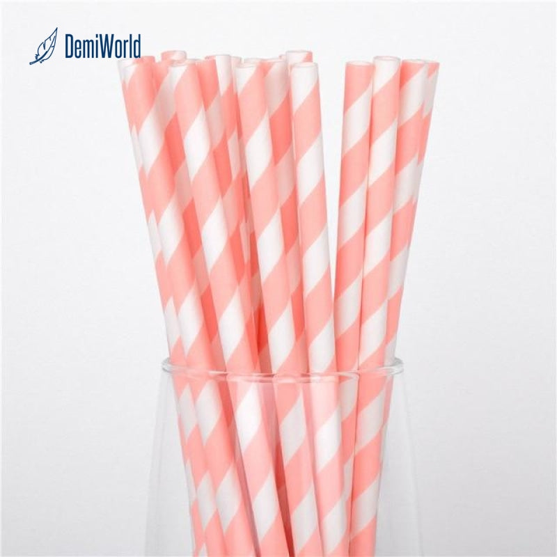 25X Colors Striped Paper Drinking Straws Mixed Party Wedding Decoration