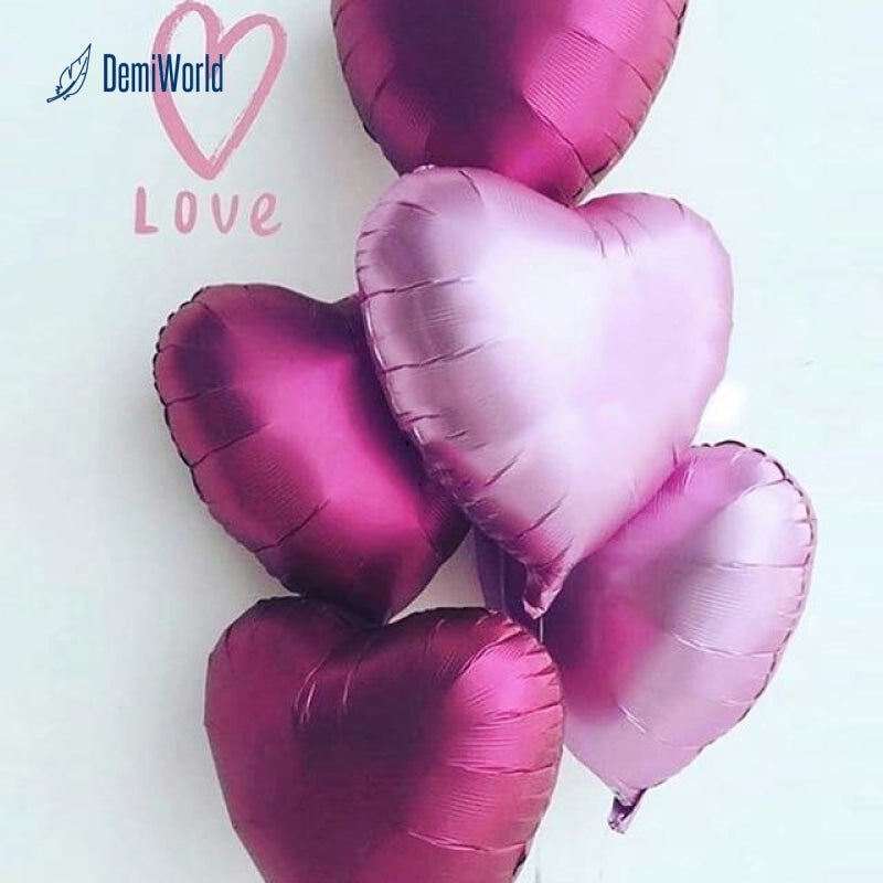 5PCS Colorful Love Heart Foil Helium Balloons Wedding Birthday Party Dekoration