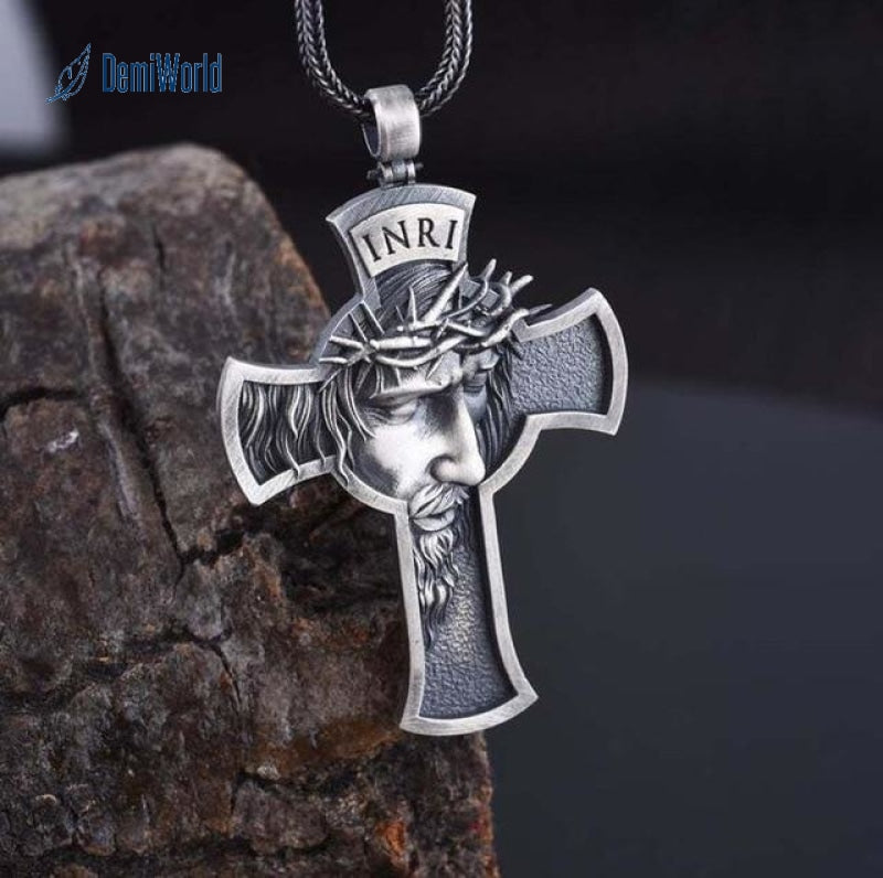 Christ Jesus Crucifix Pendant Necklace Metal Silver Gold Cross