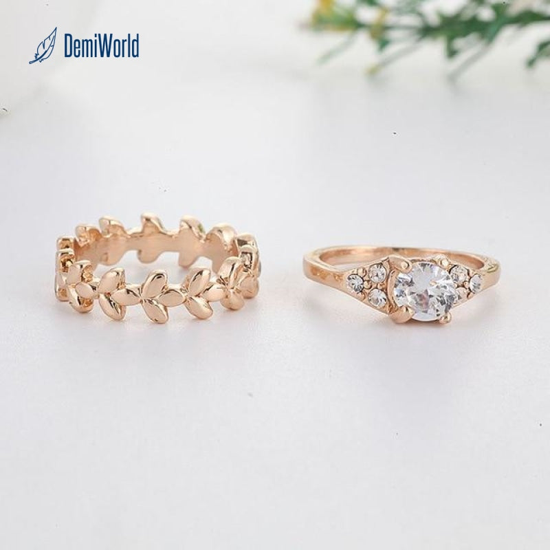 Fashion Gold Color Leaf Vine Branch Wedding Rings Set For Women