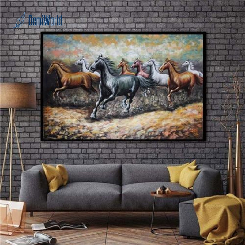 Modern Home Living Room Wall Decor Horse Animals Oil Painting Printed On Canvas