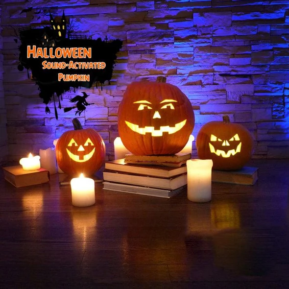 Halloween Sound-Activated Pumpkin with Built-In Speaker (Limited Édition)