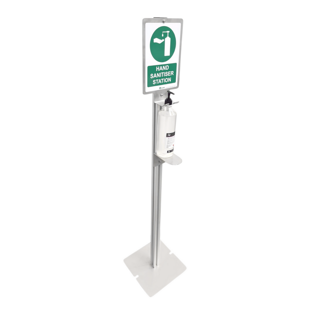 1Guard Hand Sanitiser Dispenser Stand with Sign