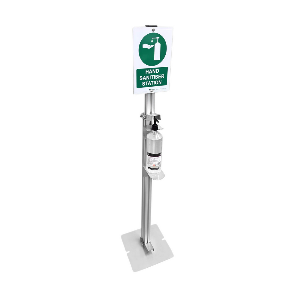 1Guard Foot Operated Hand Sanitiser Stand with Sign