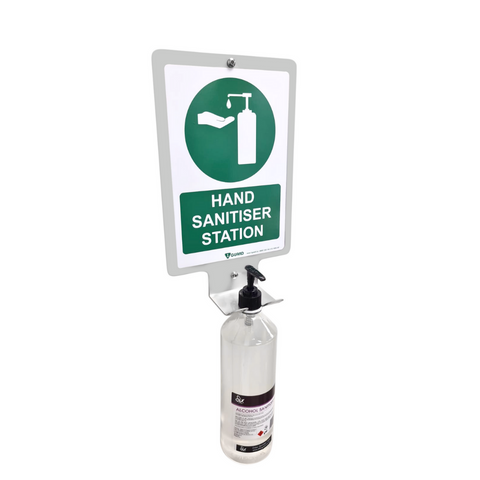 1Guard Hand Sanitiser Dispenser Wall Bracket with Sign
