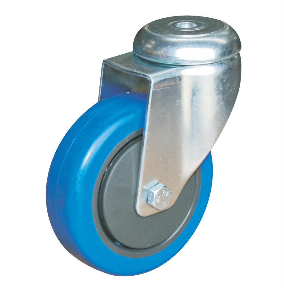 Bolt Hole Fitting Castor Blue - 100mm - Castors-Wheels - OnEquip
