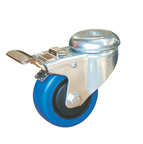 Bolt Hole Fitting Castor Blue - 75mm - Castors-Wheels - OnEquip