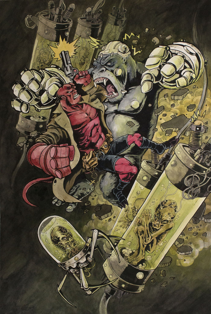 """Hellboy vs. Kriegaffe, Number 14"" by Aaron Klopp $1,500.00 - SOLD OUT"